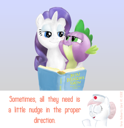 Size: 968x1000   Tagged: safe, artist:smudge proof, nurse redheart, rarity, spike, dragon, earth pony, pony, unicorn, ask, book, female, interspecies, male, mare, nurse redheart's ward, shipping, smiling, sparity, straight