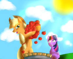 Size: 2110x1709 | Tagged: safe, artist:my-little-brony, applejack, twilight sparkle, earth pony, pony, unicorn, .mov, apple, apple.mov, barrel, duo, duo female, female, mare, stubborn, sun, that pony sure does love apples