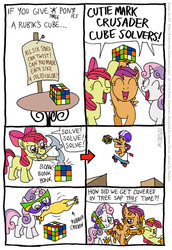 Size: 555x805 | Tagged: apple bloom, artist:kturtle, comic, cutie mark crusaders, earth pony, female, filly, hammer, mouth hold, pegasus, pony, rubber chicken, rubik's cube, safe, scootaloo, scooter, sweetie belle, tree sap, unicorn