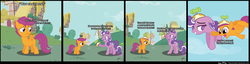 Size: 2880x740 | Tagged: dead source, safe, artist:ivanpqwerty, scootaloo, screwball, earth pony, pegasus, pony, comic, duo, duo female, female, filly, flying, hat, heartwarming, lidded eyes, mare, propeller hat, sad, scootaloo can't fly, scootalove, uplifting