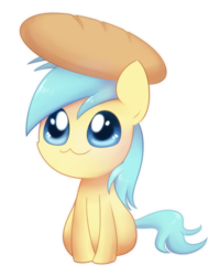 Size: 800x1000 | Tagged: safe, artist:solar-slash, sunshower raindrops, pegasus, pony, bread, chibi, cute, female, mare, simple background, sitting, smiling, solo, transparent background