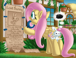 Size: 1400x1082 | Tagged: angel bunny, annoyed, artist:berrypawnch, comic, duo, female, flutterbutt, fluttershy, mare, mouth hold, pegasus, plot, pony, poster, safe, tape, the far side, thought bubble
