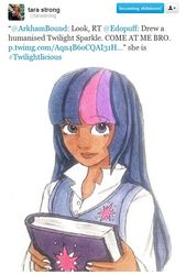 Size: 546x808 | Tagged: book, brony queen, female, human, humanized, safe, solo, tara strong, twilight sparkle, twitter, word of strong
