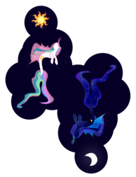 Size: 6400x8275 | Tagged: absurd res, artist:zomgitsalaura, duo, duo female, female, hippocampus, merpony, princess celestia, princess luna, safe, sealestia, simple background, sisters, species swap, transparent background