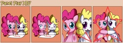 Size: 1400x489 | Tagged: artist:solar-slash, comic, duo, duo female, earth pony, female, fourth wall, g1, g1 to g4, generation leap, mare, mouth hold, panel play, pegasus, pinkie pie, pony, prone, safe, surprise