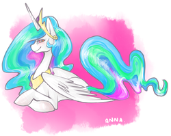 Size: 681x543 | Tagged: safe, artist:cthulhugenocidist, artist:dogrot, princess celestia, alicorn, pony, abstract background, female, mare, prone, smiling, solo