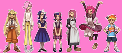 Size: 1874x821 | Tagged: safe, artist:emlan, applejack, fluttershy, pinkie pie, rainbow dash, rarity, twilight sparkle, human, bandage, bandaid, book, clothes, dress, female, gap teeth, humanized, mane six, mary janes, pinkamena diane pie, school uniform, shoes, simple background, skirt, sneakers, young
