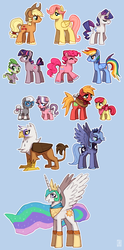 Size: 884x1780   Tagged: safe, artist:emlan, apple bloom, applejack, big macintosh, diamond tiara, fluttershy, gilda, pinkie pie, princess celestia, princess luna, rainbow dash, rarity, silver spoon, spike, twilight sparkle, alicorn, dragon, earth pony, griffon, pegasus, pony, unicorn, adoraberry, adorascotch, applebuck, applejack (male), baby, baby dragon, barb, barbabetes, big macintosh's yoke, blue background, bubble berry, butterscotch, collar, colt, crown, cute, diamond crown, dragoness, dusk shine, elusive, eyes closed, female, guilder, jewelry, looking at you, macareina, male, mane seven, mare, necklace, open mouth, prince artemis, prince solaris, rainbow blitz, regalia, royal brothers, rule 63, rule63betes, s1 luna, silver platter, simple background, smiling, stallion, standing, unicorn dusk shine, unicorn twilight, wingless spike
