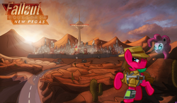 Size: 1125x656 | Tagged: safe, oc, oc only, oc:cherry pie, earth pony, pony, robot, fallout equestria, fallout equestria: new pegas, city, clothes, fanfic art, gun, hat, male, new pegas, pink-e, pipbuck, rifle, road, scenery, stallion, wasteland, weapon