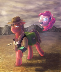 Size: 1724x2053 | Tagged: safe, oc, oc only, oc:cherry pie, earth pony, pony, robot, fallout equestria, fallout equestria: new pegas, fanfic art, floppy ears, hat, hey listen!, male, new pegas, pink-e, pipbuck, saddle bag, stallion, walking, wasteland, weapon