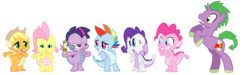 Size: 3323x1000 | Tagged: safe, artist:itsaaudraw, applejack, fluttershy, pinkie pie, rainbow dash, rarity, spike, twilight sparkle, dragon, pony, unicorn, cute, dragoness, dragonified, dragonjack, female, flutterdragon, male, mane seven, pinkiedragon, ponified, ponified spike, rainbow dragon, raridragon, rearing, role reversal, scroll, simple background, species swap, stallion, transparent background, twilidragon