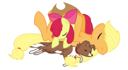 Size: 1250x690 | Tagged: safe, artist:kumkrum, apple bloom, applejack, winona, dog, earth pony, pony, adorabloom, apple bloom's bow, apple sisters, applejack's hat, border collie, bow, cowboy hat, cute, eyes closed, female, filly, foal, hair bow, hat, jackabetes, mare, on back, pony pile, pony pillow, siblings, simple background, sisters, sleeping, transparent background, trio, trio female, winonabetes