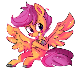 Size: 800x800 | Tagged: safe, artist:clockworkquartet, scootaloo, pegasus, pony, blushing, crossed hooves, female, filly, grin, heart eyes, sassy, sitting, smiling, solo, spread wings, wingding eyes, wings