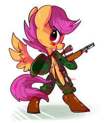 Size: 900x1000 | Tagged: safe, artist:clockworkquartet, scootaloo, semi-anthro, bipedal, clothes, female, gun, looking back, military, rifle, smiling, solo, uniform, weapon