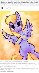 Size: 484x897 | Tagged: safe, artist:reuniclus, cloud kicker, pegasus, pony, ask, cloud, female, hooves together, lidded eyes, mare, on back, smiling, working hard hardly working