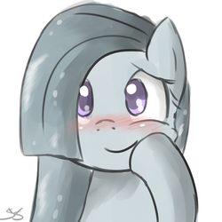Size: 900x900 | Tagged: safe, artist:speccysy, marble pie, earth pony, pony, blushing, cute, female, mare, simple background, smiling, solo, squishy, white background