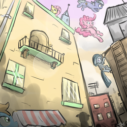 Size: 900x900 | Tagged: artist:speccysy, balcony, bipedal, building, city, earth pony, female, fluttershy, limestone pie, marble pie, mare, oc, outdoors, parkour, pegasus, pie sisters, pinkie pie, pony, safe, sisters