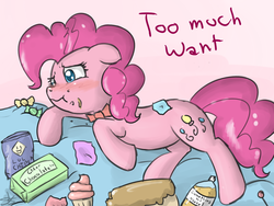 Size: 900x675 | Tagged: dead source, safe, artist:speccysy, pinkie pie, earth pony, pony, alcohol, blushing, bowtie, candy, chips, chocolate, cupcake, female, floppy ears, food, mare, on side, solo, stomach ache, stuffed, too much want, tummy ache
