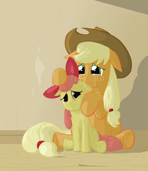 Size: 2000x2300 | Tagged: safe, artist:jakneurotic, apple bloom, applejack, earth pony, pony, apple sisters, crying, duo, duo female, female, filly, floppy ears, foal, high res, mare, sad, siblings, sisters, sitting, smiling