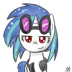Size: 900x900   Tagged: safe, artist:speccysy, dj pon-3, vinyl scratch, pony, unicorn, bedroom eyes, female, goggles, headphones, mare, simple background, smiling, smirk, solo, white background