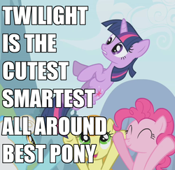 Size: 741x720 | Tagged: artifact, best pony, carrot top, earth pony, edit, edited screencap, female, golden harvest, image macro, mare, pinkie pie, pony, safe, screencap, serena, the ticket master, twilight sparkle, unicorn