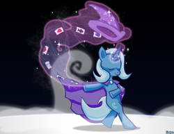 Size: 1100x850 | Tagged: safe, artist:kadjule, trixie, pony, unicorn, bipedal, cape, card, clothes, eyes closed, female, hat, levitation, magic, mare, smiling, solo, stage, trixie's hat, walking