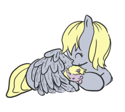 Size: 993x888 | Tagged: safe, artist:cloverminto, derpy hooves, dinky hooves, pegasus, pony, unicorn, cute, derpabetes, dinkabetes, equestria's best mother, eyes closed, female, filly, hug, mare, mother and daughter, outline, prone, sleeping, snuggling, wing blanket, winghug
