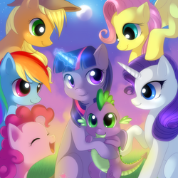 Size: 2222x2222 | Tagged: safe, artist:jacky-bunny, applejack, fluttershy, pinkie pie, rainbow dash, rarity, spike, twilight sparkle, dragon, earth pony, pegasus, pony, unicorn, female, high res, hug, male, mane seven, mane six, mare, smiling, spikelove