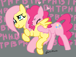 Size: 732x547 | Tagged: safe, artist:moronsonofboron, fluttershy, pinkie pie, earth pony, pegasus, pony, :t, back buzz, buck buzz, crying, derp, duo, duo female, eyes closed, female, heart, mare, motorboating, onomatopoeia, raspberry, raspberry noise, scrunchy face, tickling, wing buzz, wing motorboating