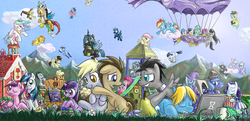 Size: 1300x627 | Tagged: airship, applejack, artist:saturnspace, berry punch, berryshine, big macintosh, bon bon, book, carrot top, carrying, changeling, changeling queen, cheerilee, cloud, cloudchaser, colored pupils, colt, computer, cute, derpy hooves, discord, discord whooves, dj pon-3, doctor whooves, dragon, drool, earth pony, eyes closed, filly, firefly, flitter, floppy ears, flower, fluttershy, foal, food, g1, g1 to g4, generation leap, glasses, golden harvest, grin, hug, jack harkness, jewelry, laptop computer, limestone pie, lucky clover, lyra heartstrings, male, marble pie, minuette, mountain, muffin, mug, octavia melody, one eye closed, open mouth, pear, pegasus, pie, pie sisters, pinkie pie, pony, ponyville schoolhouse, princess cadance, princess celestia, princess luna, queen chrysalis, rainbow dash, rarity, reading, regalia, safe, scared, school, shining armor, sleeping, smiling, smirk, soarin', spike, spitfire, star hunter, sunny rays, sunshower raindrops, surprise, sweetie drops, thunderlane, time turner, trixie, twilight sparkle, unicorn, upside down, vinyl scratch, wall of tags, wild fire, woona, zebra, zecora