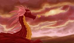 Size: 1800x1049 | Tagged: safe, artist:whitestar1802, basil, fluttershy, dragon, pegasus, pony, dragonshy, crying, duo, female, mare, red dragon, scene interpretation, size difference