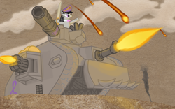 Size: 3360x2100 | Tagged: safe, artist:cyberpanda2000, octavia melody, earth pony, pony, bipedal, commissar, crossover, drive me closer, female, frown, glare, hat, heavy bolter, high res, hoof hold, lascannon, leman russ, mare, open mouth, pointing, ponyhammer, solo, sword, tank (vehicle), warhammer (game), warhammer 40k, weapon