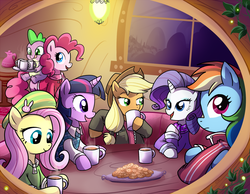 Size: 1286x1000 | Tagged: safe, artist:madmax, applejack, fluttershy, pinkie pie, rainbow dash, rarity, spike, twilight sparkle, dragon, earth pony, pegasus, pony, unicorn, clothes, cookie, dragons riding ponies, female, hot chocolate, male, mane seven, mane six, mare, riding
