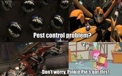 Size: 960x598   Tagged: safe, edit, edited screencap, screencap, pinkie pie, earth pony, parasprite, pony, swarm of the century, bumblebee, female, mare, ratchet, roflbot, scraplet, transformers, transformers prime