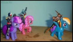 Size: 844x486 | Tagged: safe, pinkie pie, rainbow dash, twilight sparkle, pony, burger king toys, gaoh, irl, kamen rider, kamen rider amazon, kamen rider blade, kamen rider den-o, photo, toy