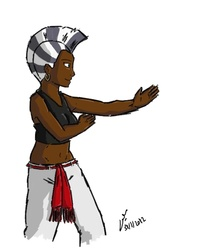 Size: 679x800   Tagged: safe, artist:netcyber, zecora, human, dark skin, female, humanized, martial arts, my little asskicker, n'golo, red belt, simple background, solo, white background