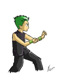 Size: 667x706   Tagged: safe, artist:netcyber, spike, human, humanized, male, martial arts, my little asskicker, simple background, solo, white background, wu shu
