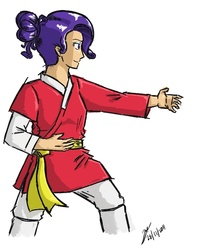 Size: 660x770   Tagged: safe, artist:netcyber, rarity, human, clothes, female, humanized, martial artist rarity, martial arts, my little asskicker, robe, simple background, solo, taekkyeon, trousers, white background, yellow belt