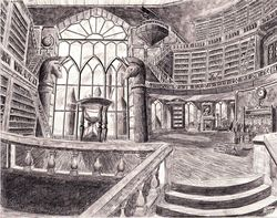 Size: 4180x3300   Tagged: safe, artist:josh-5410, background, canterlot, canterlot library, grayscale, library, monochrome, no pony, pencil drawing, scenery, sketch, traditional art