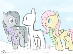 Size: 900x675 | Tagged: artist:speccysy, clothes, duo, duo female, earth pony, female, fluttershy, marble pie, mare, pegasus, pony, safe, scarf, smiling, snow, snowfall, snowpony