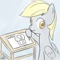 Size: 900x900 | Tagged: artist:speccysy, derpy hooves, drawing, female, looking back, mare, muffin, pegasus, pony, safe, smiling, solo