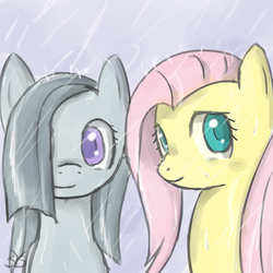 Size: 900x900 | Tagged: artist:speccysy, duo, duo female, earth pony, female, fluttershy, marble pie, mare, pegasus, pony, rain, safe, smiling, wet mane