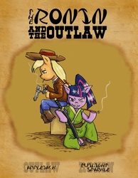 Size: 828x1066 | Tagged: safe, artist:netcyber, applejack, twilight sparkle, semi-anthro, cigarette, clothes, duo, duo female, female, gun, handgun, movie poster, pipe, revolver, smoking, sword, weapon