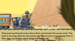 Size: 640x350 | Tagged: caboose, earth pony, edit, edited screencap, evening star, headcanon, john bull, male, over a barrel, pony, promontory, safe, screencap, stallion, train