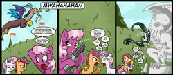 Size: 1500x656 | Tagged: safe, artist:madmax, cheerilee, discord, scootaloo, sweetie belle, draconequus, earth pony, pegasus, pony, unicorn, comic, cthulhu, cthulhu mythos, female, filly, gun, male, mare, noogie, shotgun, weapon