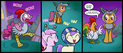 Size: 1500x656 | Tagged: safe, artist:madmax, pinkie pie, scootaloo, chicken, earth pony, pegasus, pony, animal costume, chicken pie, chicken suit, clothes, comic, costume, female, filly, mare, night, nightmare night, scootachicken, scootawolf, wolf costume
