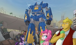 Size: 2500x1500 | Tagged: safe, artist:uc77, applejack, dj pon-3, fluttershy, pinkie pie, rainbow dash, rarity, twilight sparkle, vinyl scratch, earth pony, pegasus, pony, unicorn, air man, back to the future, bender bending rodriguez, clothes, cowboy hat, crossover, cup, drinking, eye contact, female, flux capacitor, frown, futurama, getter robo, hat, hoof hold, looking at each other, looking up, mane six, mare, mech, megaman, megas xlr, open mouth, scared, shirt, shocked, stetson, straw, sweat, sweatdrop, swedish flag, tengen toppa gurren lagann, wide eyes