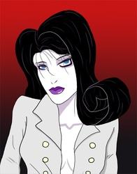 Size: 645x821 | Tagged: absolute cleavage, artist:jarntazecht, breasts, cleavage, female, gradient background, human, humanized, patrick nagel, rarity, safe, solo