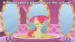 Size: 853x480 | Tagged: apple bloom, bronybait, carousel boutique, earth pony, edit, edited screencap, eyes closed, female, filly, hug, image macro, pony, sad, safe, screencap, sitting