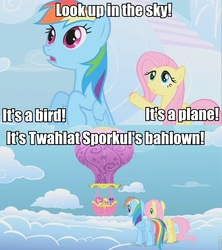 Size: 854x960 | Tagged: applejack, earth pony, edit, edited screencap, female, fluttershy, hot air balloon, image macro, it's twilight sparkle's balloon, mare, pegasus, pinkie pie, pony, rainbow dash, safe, screencap, sonic rainboom (episode), twilight sparkle, twinkling balloon, unicorn